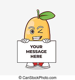 Kumquat Fruit cartoon mascot character with funny face hides behind a board