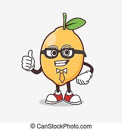 Lemon Fruit cartoon businessman mascot character wearing tie and glasses