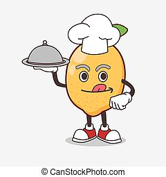 Lemon Fruit cartoon mascot character as a Chef with food on tray ready to serve