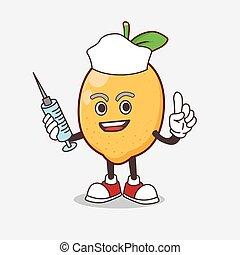 Lemon Fruit cartoon mascot character as nurse with medical syringe