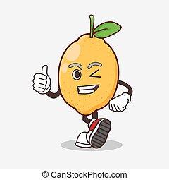 Lemon Fruit cartoon mascot character making Thumbs up gesture