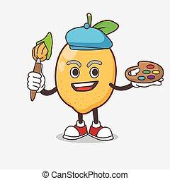 Lemon Fruit cartoon mascot character painter style with art brush
