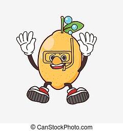 Lemon Fruit cartoon mascot character wearing Diving glasses