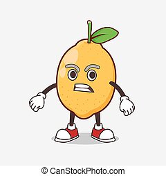 Lemon Fruit cartoon mascot character with angry face