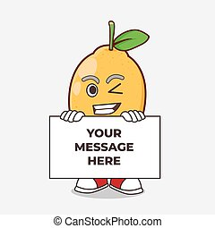 Lemon Fruit cartoon mascot character with funny face hides behind a board