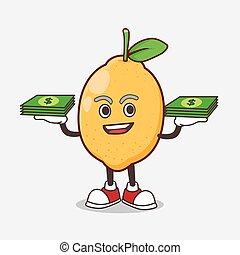 Lemon Fruit cartoon mascot character with money on hands