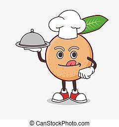 Longan Fruit cartoon mascot character as a Chef with food on tray ready to serve