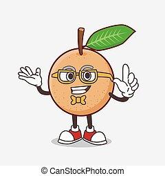 Longan Fruit cartoon mascot character in geek style
