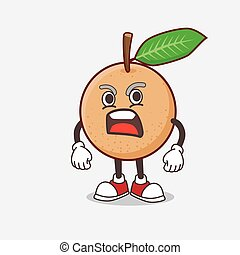 Longan Fruit cartoon mascot character with angry face