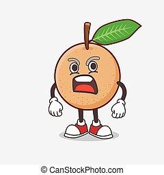 Longan Fruit cartoon mascot character with angry face