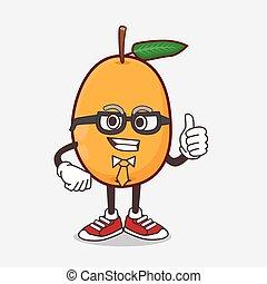 Loquat Fruit cartoon businessman mascot character wearing tie and glasses