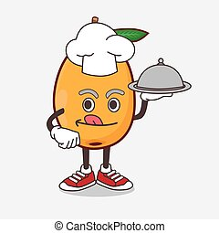 Loquat Fruit cartoon mascot character as a Chef with food on tray ready to serve