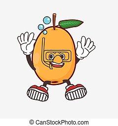 Loquat Fruit cartoon mascot character wearing Diving glasses
