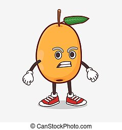 Loquat Fruit cartoon mascot character with angry face