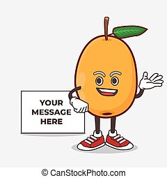 Loquat Fruit cartoon mascot character with whiteboard