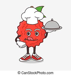 Lychee Fruit cartoon mascot character as a Chef with food on tray ready to serve