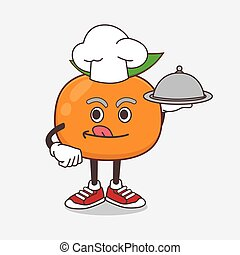 Mandarin Fruit cartoon mascot character as a Chef with food on tray ready to serve