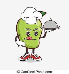 Mango Fruit cartoon mascot character as a Chef with food on tray ready to serve