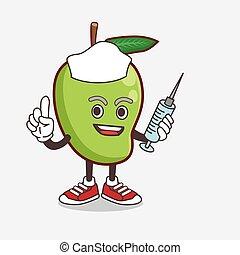 Mango Fruit cartoon mascot character as nurse with medical syringe