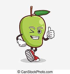 Mango Fruit cartoon mascot character making Thumbs up gesture