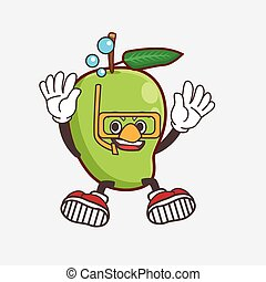 Mango Fruit cartoon mascot character wearing Diving glasses