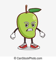 Mango Fruit cartoon mascot character with angry face