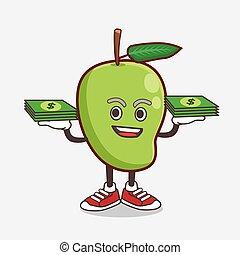 Mango Fruit cartoon mascot character with money on hands