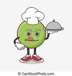 Melon Fruit cartoon mascot character as a Chef with food on tray ready to serve