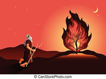 Moses and the burning bush - An illustration of Moses and ...
