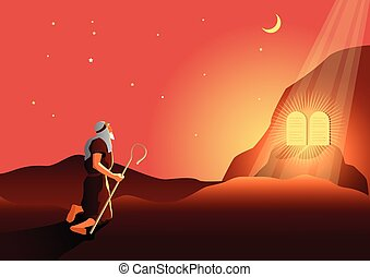 Moses and the ten commandments - An illustration of Moses ...