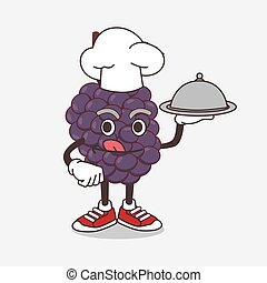Mulberry Fruit cartoon mascot character as a Chef with food on tray ready to serve