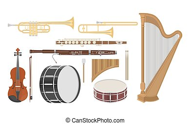 An illustration of musical instruments set