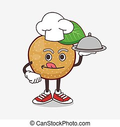 Nashi Pear cartoon mascot character as a Chef with food on tray ready to serve