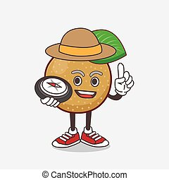 Nashi Pear cartoon mascot character having a compass