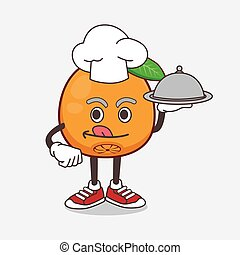Navel Orange cartoon mascot character as a Chef with food on tray ready to serve