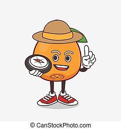 Navel Orange cartoon mascot character having a compass