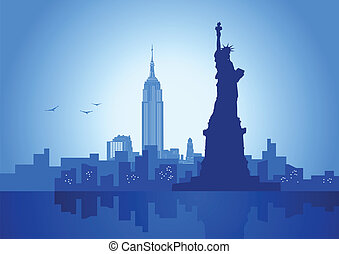 An illustration of New York City skyline