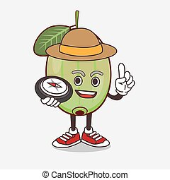 Ogeechee Lime cartoon mascot character having a compass