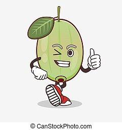 Ogeechee Lime cartoon mascot character making Thumbs up gesture