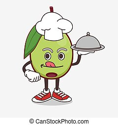 Olive Fruit cartoon mascot character as a Chef with food on tray ready to serve