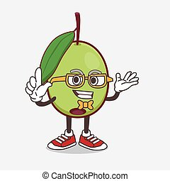 Olive Fruit cartoon mascot character in geek style