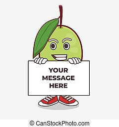 Olive Fruit cartoon mascot character with funny face hides behind a board