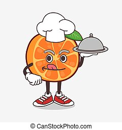 Orange Fruit cartoon mascot character as a Chef with food on tray ready to serve