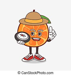 Orange Fruit cartoon mascot character having a compass