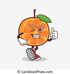 Orange Fruit cartoon mascot character making Thumbs up gesture