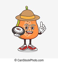 Papaya Fruit cartoon mascot character having a compass