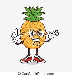 Pineapple Fruit cartoon mascot character in geek style