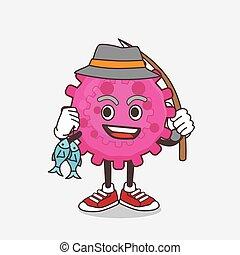 Pink Virus cartoon mascot character fishing with 2 fishes