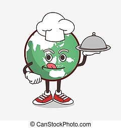 Planet Earth cartoon mascot character as a Chef with food on tray ready to serve