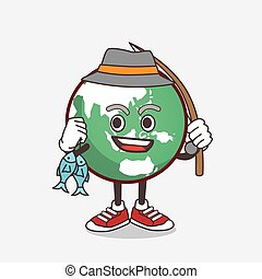 Planet Earth cartoon mascot character fishing with 2 fishes